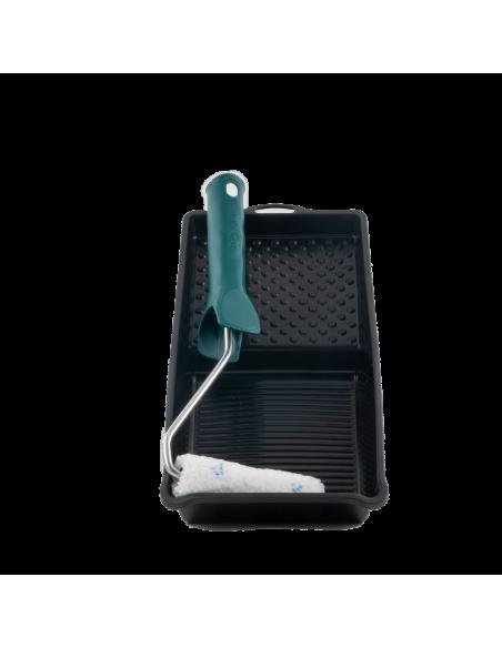 Rouleau patte de lapin microfibre 10mm largeur 100mm avec monture et bac largeur 120mm