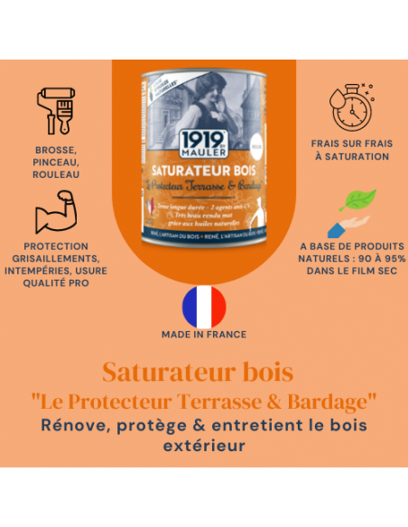 """Saturateur bois """"Le Protecteur Terrasse & Bardage"""" 1919 BY MAULER - Picto"""
