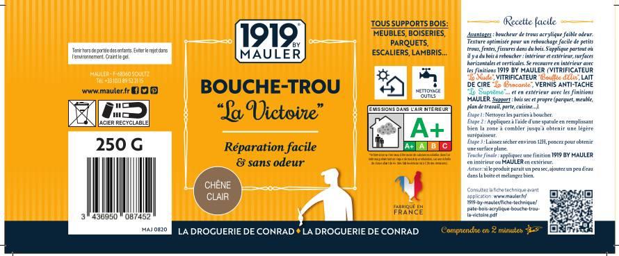 Etiquette bouche trou pâte à bois 1919 BY MAULER