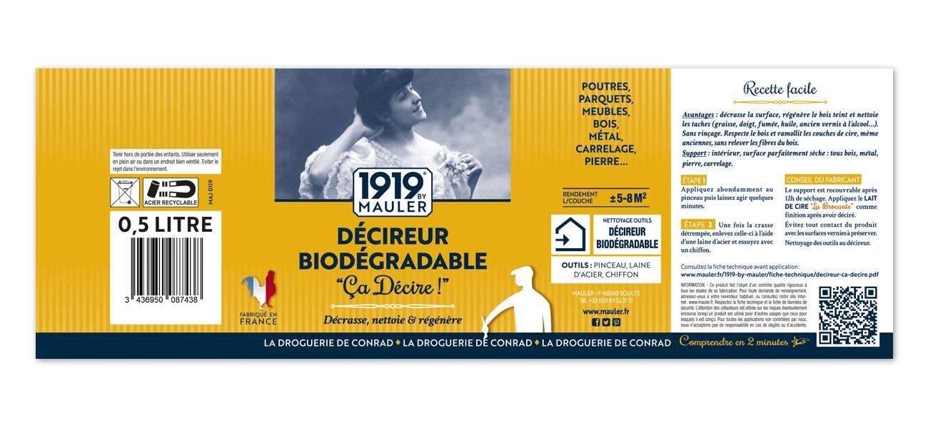 Etiquette décireur biodégradable 1919 BY MAULER CA DECIRE