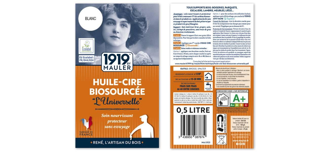 "Huile-Cire patine blanche bois vieilli 1919 BY MAULER ""L'universelle"""