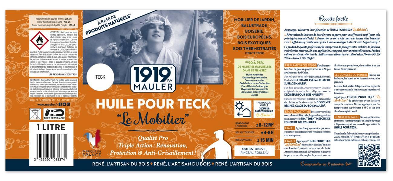 Huile pour Teck 1919 BY MAULER