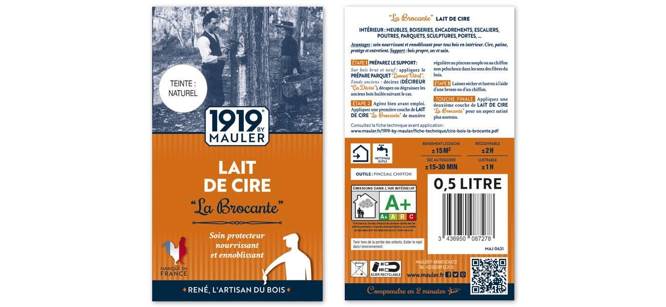 Cire liquide bois lait de cire la brocante étiquette 1919 BY MAULER
