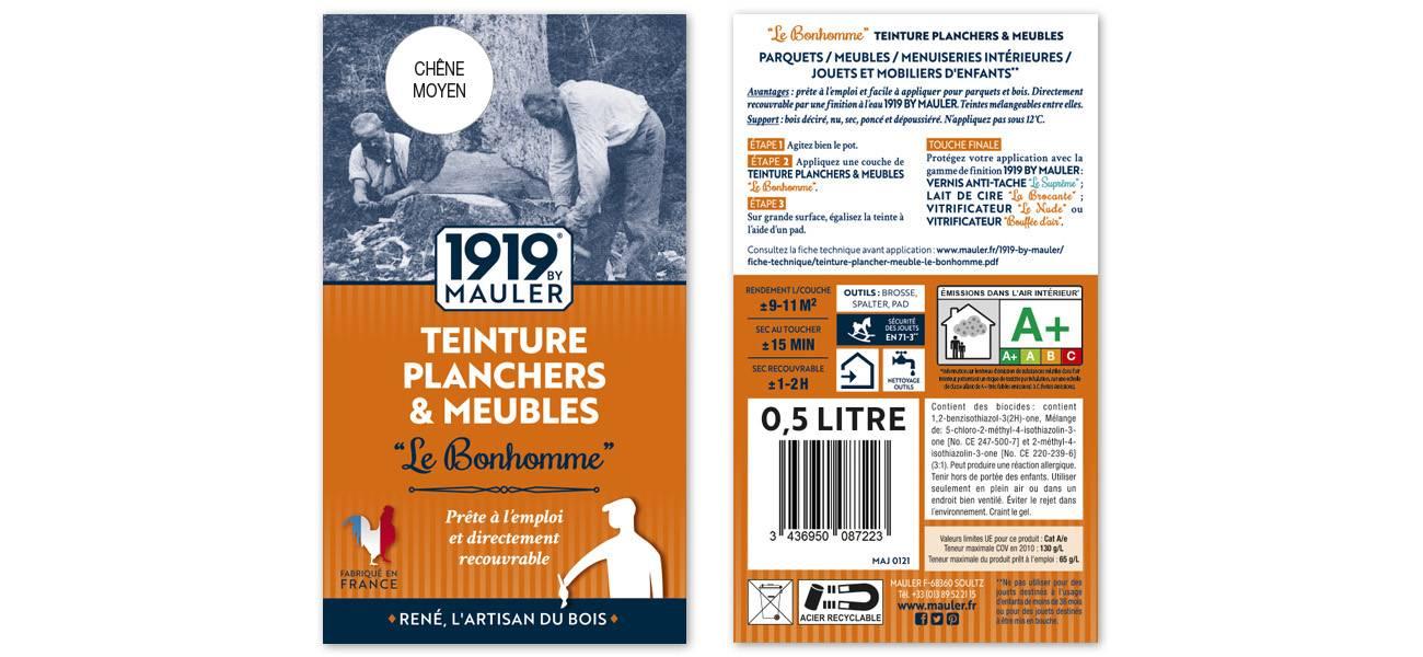 """Teinture bois chêne clair 0,5L """"Le Bonhomme"""" 1919 BY MAULER"""